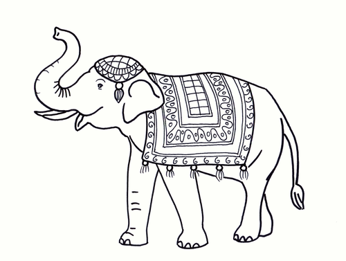 Indian elephant Colouring Sheet - Early Years