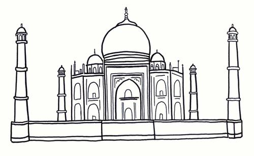 Taj Mahal Colouring Sheet - Early Years