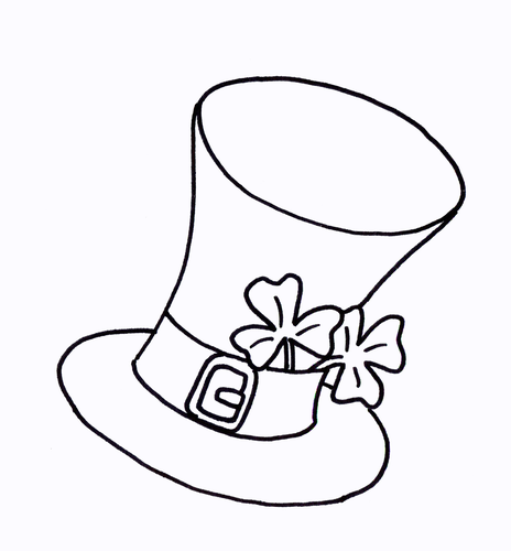 Top Hat with Shamrock Colouring Sheet - Early Years