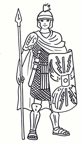 Roman Soldier Colouring Sheet - Early Years