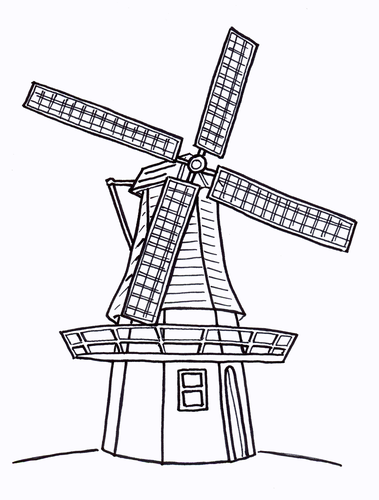 Windmill Colouring Sheet - Early Years