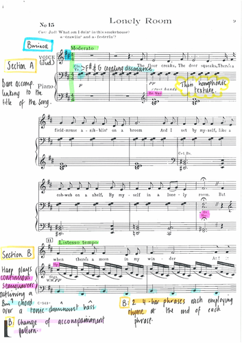 Fully Annotated Score for Lonely Room from OKLAHOMA by Rodgers