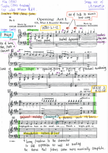 Oh What A Beautiful Morning - Fully Annotated Score from OKLAHOMA by Rodgers