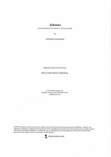 JOHANNA - Annotated Score- Sweeney Todd - SONDHEIM