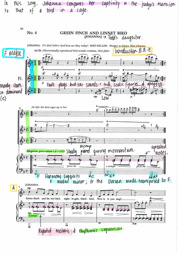 GREEN FINCH AND LINNET BIRD - Fully Annotated Score - SWEENEY TODD by Sondheim
