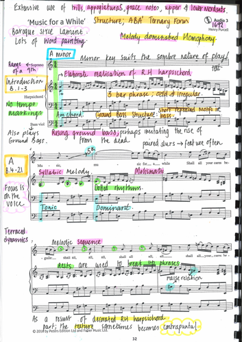GCSE Edexcel Music For A While -  Purcell - Annotated Score