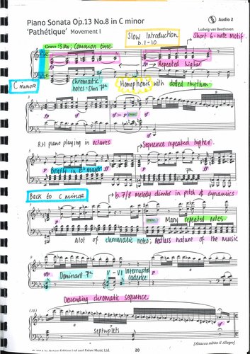 GCSE Edexcel PATHETIQUE - Beethoven - Annotated Score