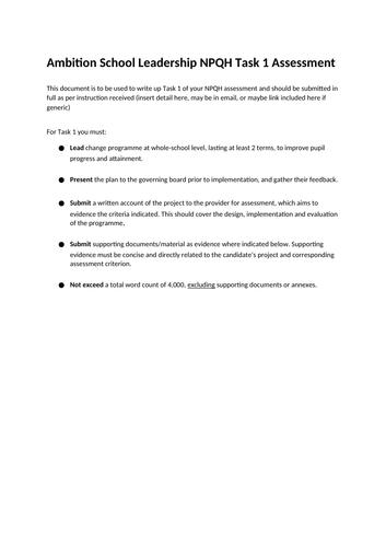 NPQH Task 1 and 2 (passed Feb 2021)