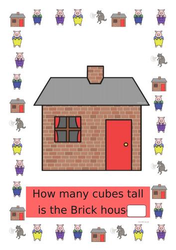 Three Little Pigs Measuring Activity EYFS Maths