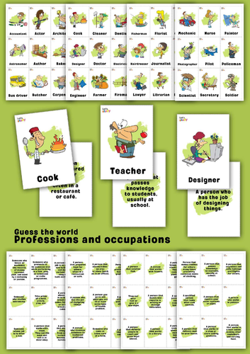 Professions and occupations. Guess the word game.