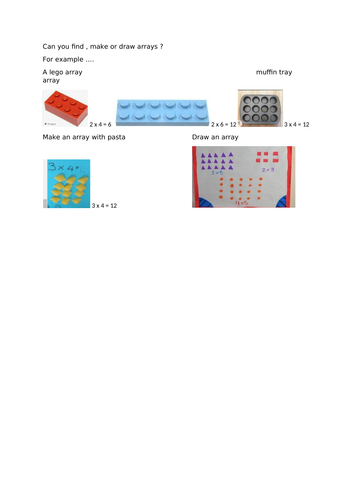Make an array home-learning - Year 2