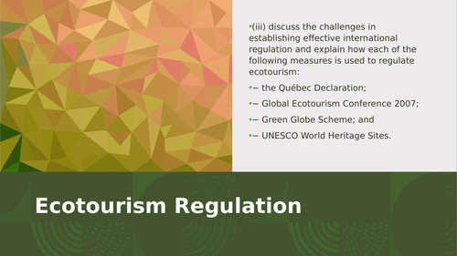CCEA Ecotourism - Regulation types and evaluation