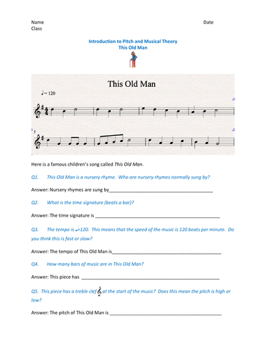 Fun music theory based on the nursery rhyme - This Old Man.