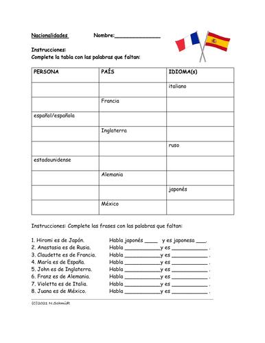 Spanish Nationalities/Countries Worksheet: Nacionalidades, Países e Idiomas: