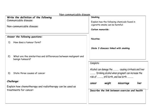 Non-communicable disease KS4 worksheet