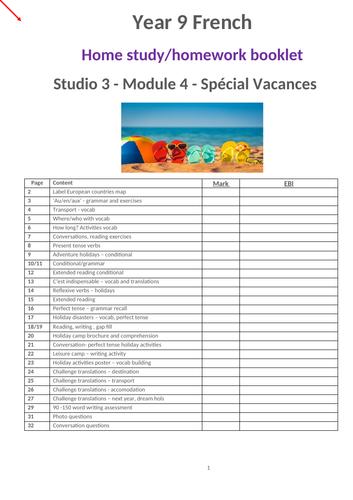 Studio 3 Module 4 Question de vacances Independent study booklet