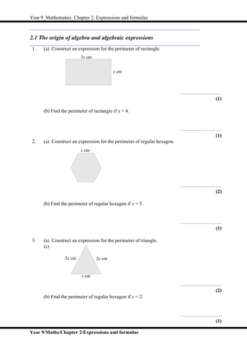 Complete Mathematics : Expressions and formulae (KS3, Year 9, IGCSE)