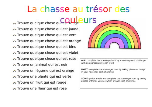 Colours scavenger hunt - French and Spanish