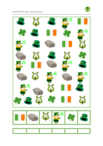 Saint Patrick's Say: I Spy and Count Maths Game