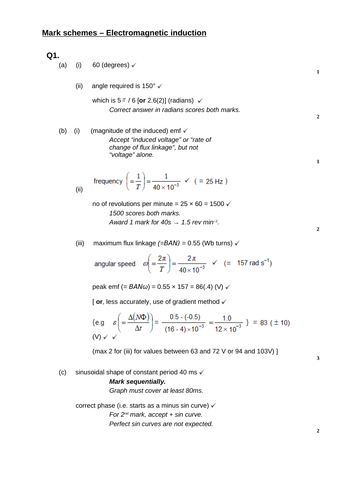 A level Physics - Fields (Chapter 25) Electromagnetic induction- Assessment