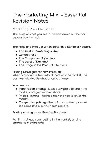 BTEC Business Marketing Mix  Revision