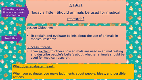 Remote Learning - Animal Rights / Animal Testing