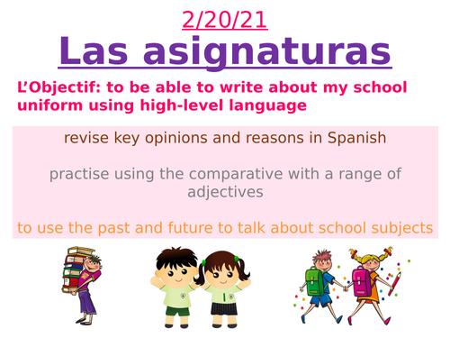 Las Asignaturas - Spanish School subjects lesson