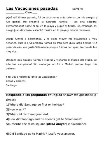 Las vacaciones pasadas / Past holidays worksheet