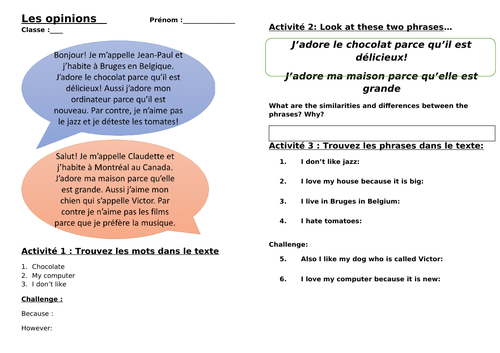 Les Opinions - Inductive grammar worksheet