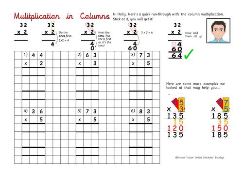 Column Multiplication (Year 3) Activity Worksheet