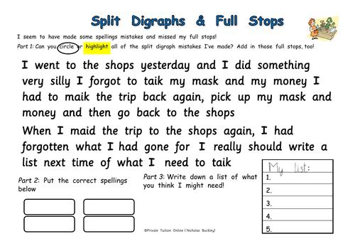 Full Stops & Split Digraph Errors