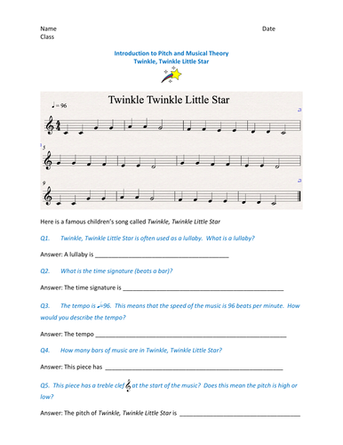 Fun music theory activity based on the lullaby - Twinkle, Twinkle Little Star
