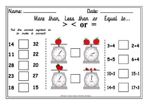 More than, Less than or  Equal to  Worksheet Activity