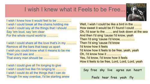 Nina Simone - I Wish I knew What it Felt to be Free - listening activity