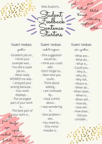 Student Feedback Sentence Starters
