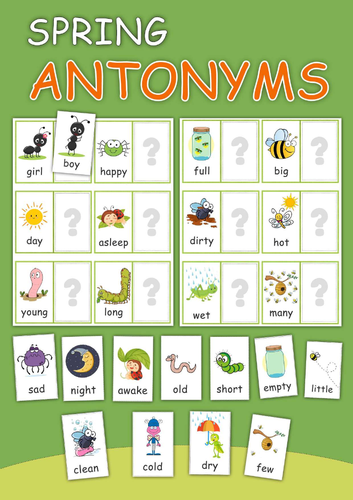 Spring Activity Antonyms Game