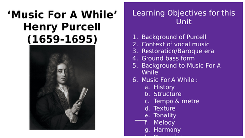 Music For A While musical analysis Purcell Powerpoint