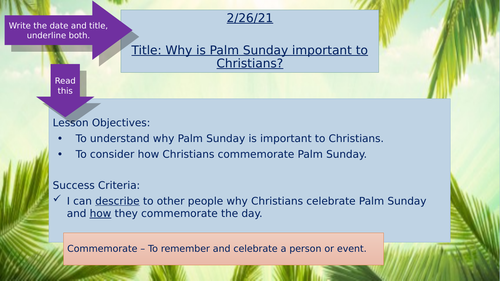 Remote Learning - Palm Sunday