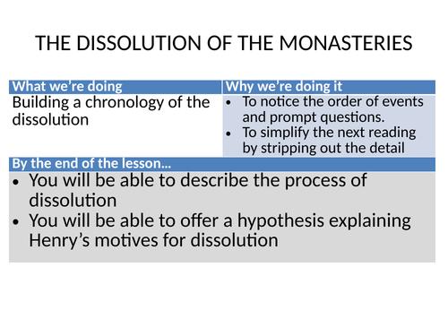 Dissolution of the lesser monasteries 1536
