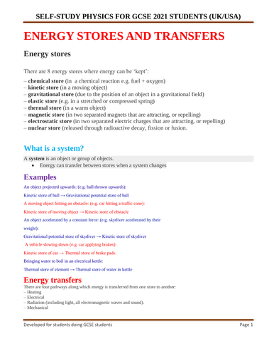 PHYSICS SELF-STUDY MATERIAL ON ENERGY STORES AND TRANSFERS
