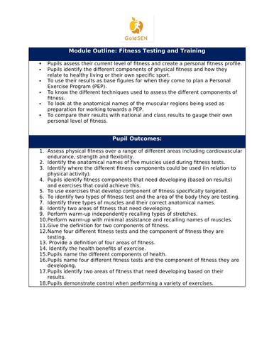 Fitness Testing & Training Unit of Work
