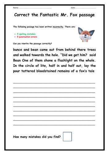 Fantastic Mr Fox - Punctuation and Spelling Task