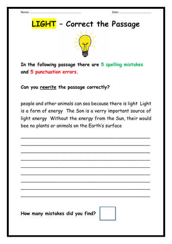 Light - Punctuation and Spelling Task