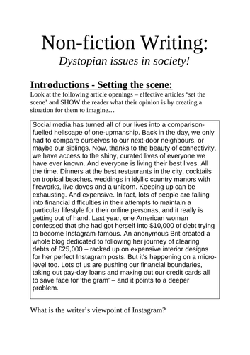 KS3 upper, non-fiction writing booklet: Dystopian issues in society.