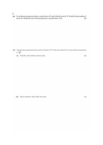 IGCSE Additional Mathematics 0606 Mock paper