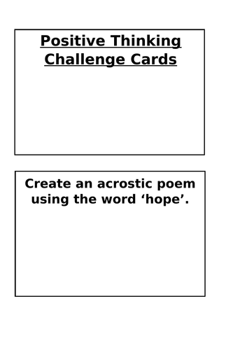 Positive Thinking Challenge Cards