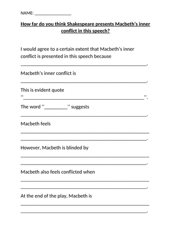 Low Ability/Sen AQA Macbeth Lessons