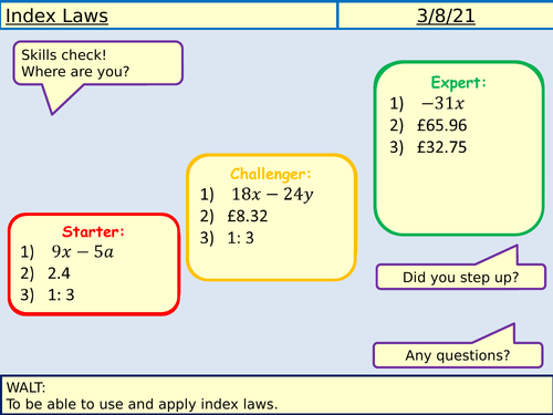 Index Laws Lesson
