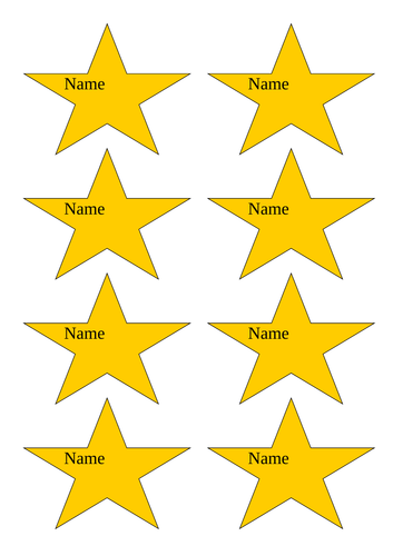 Name star reward chart labels classroom display resource A4
