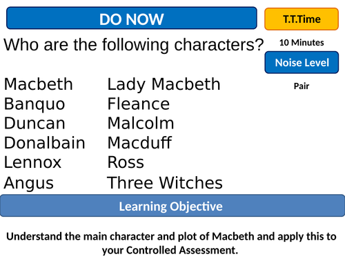 Macbeth Assessment Low Ability